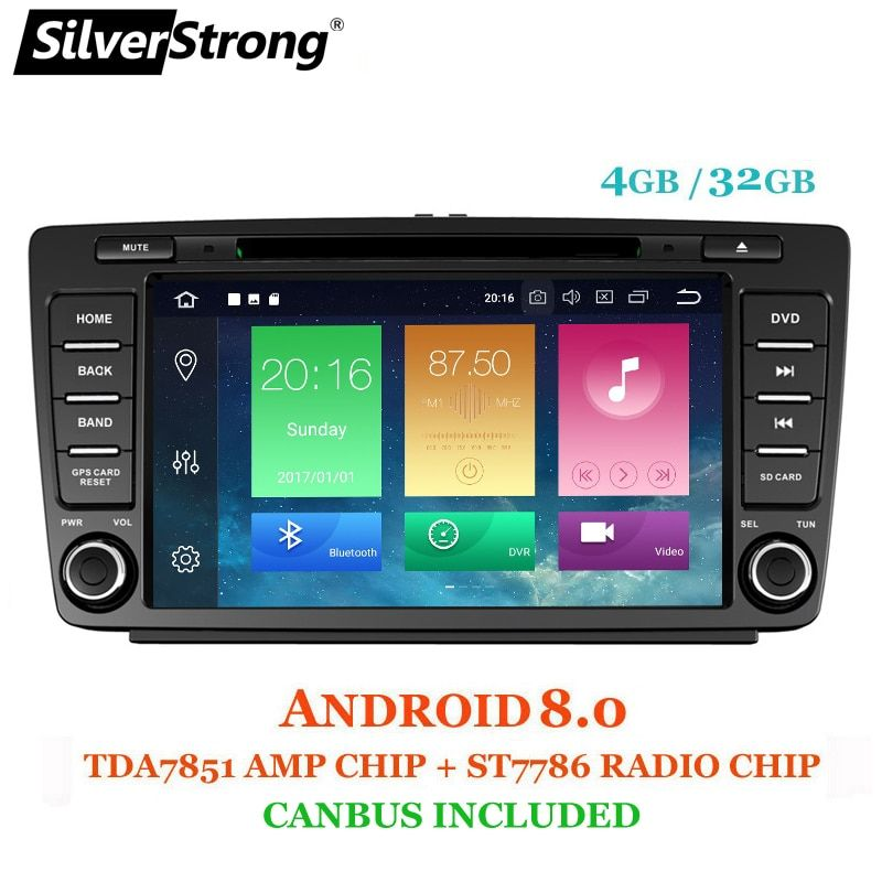SilverStrong Android8.0 4GB RAM TWO DIN 8Core Car DVD For Skoda Octavia2 Octavia A5 Radio Bluetooth DAB+ option TPMS DSP