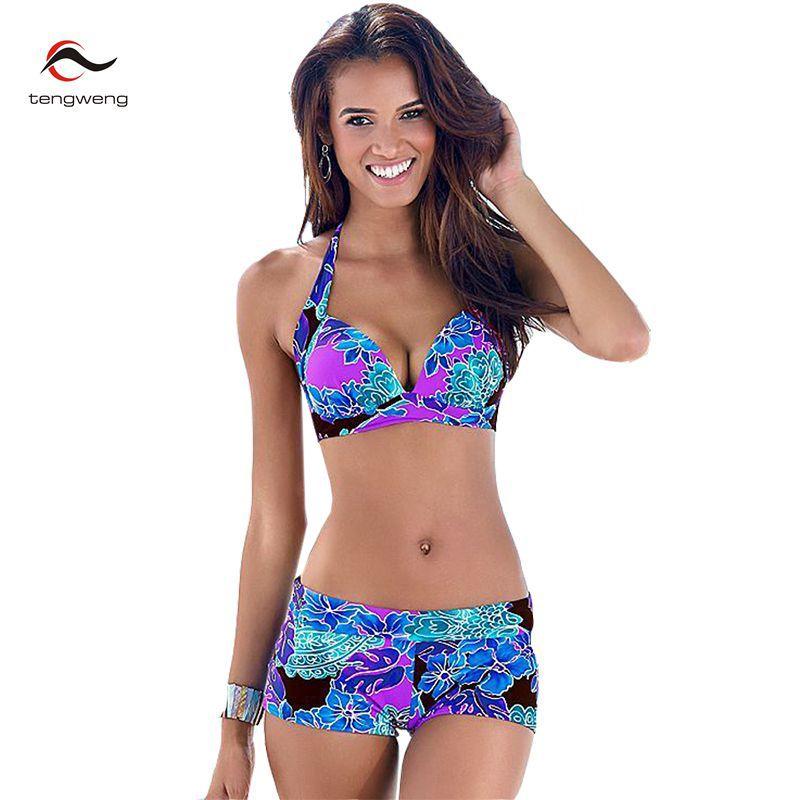 Tengweng 2019 Sexy femmes imprimé Floral Tankini maillots de bain Push up Bikini Shorts grande taille maillot de bain brésilien femme maillot de bain