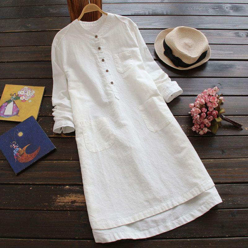 ZANZEA Casual Solid Long Sleeve Loose White Long Shirt Dress 2018 Hot Summer Stand Collar Cotton Linen Baggy <font><b>Work</b></font> Office Vestido