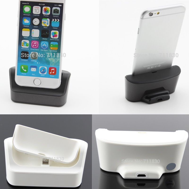 For iPhone 7 7 Plus 6 6Plus Desktop Sync Data Charger Dock Multi Function Charging Dock Station With Removable Slot Black White