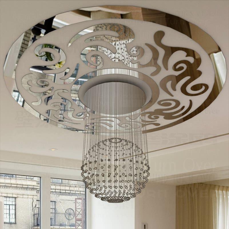 Traditionnel chinois Vintage cercle Phoenix décoratif acrylique plafond miroir Stickers muraux salon chambre décor décalcomanies R213