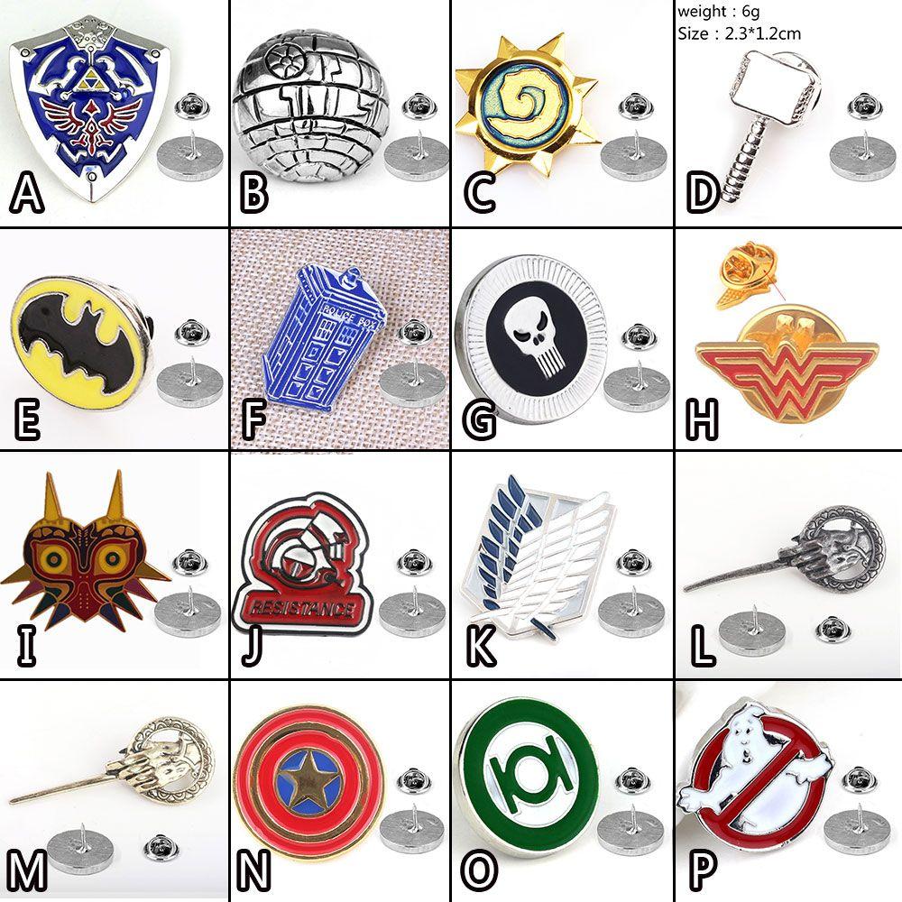 Spiel Zelda Angriff auf Titan Ghostbusters Grün Laterne Wonder Woman Batman Thor Symbol Metall Abzeichen Pin Brosche Brust Taste Geschenk