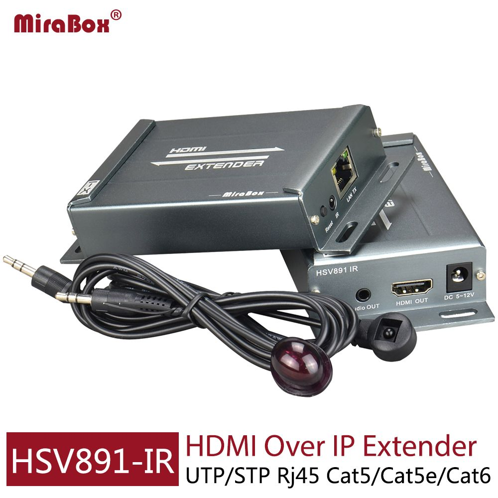 Mirabox Hdmi Extender ir over TCP/IP with Audio <font><b>Extractor</b></font> support 1080p cascade receivers HDMI extender ir by Rj45 UTP/STP