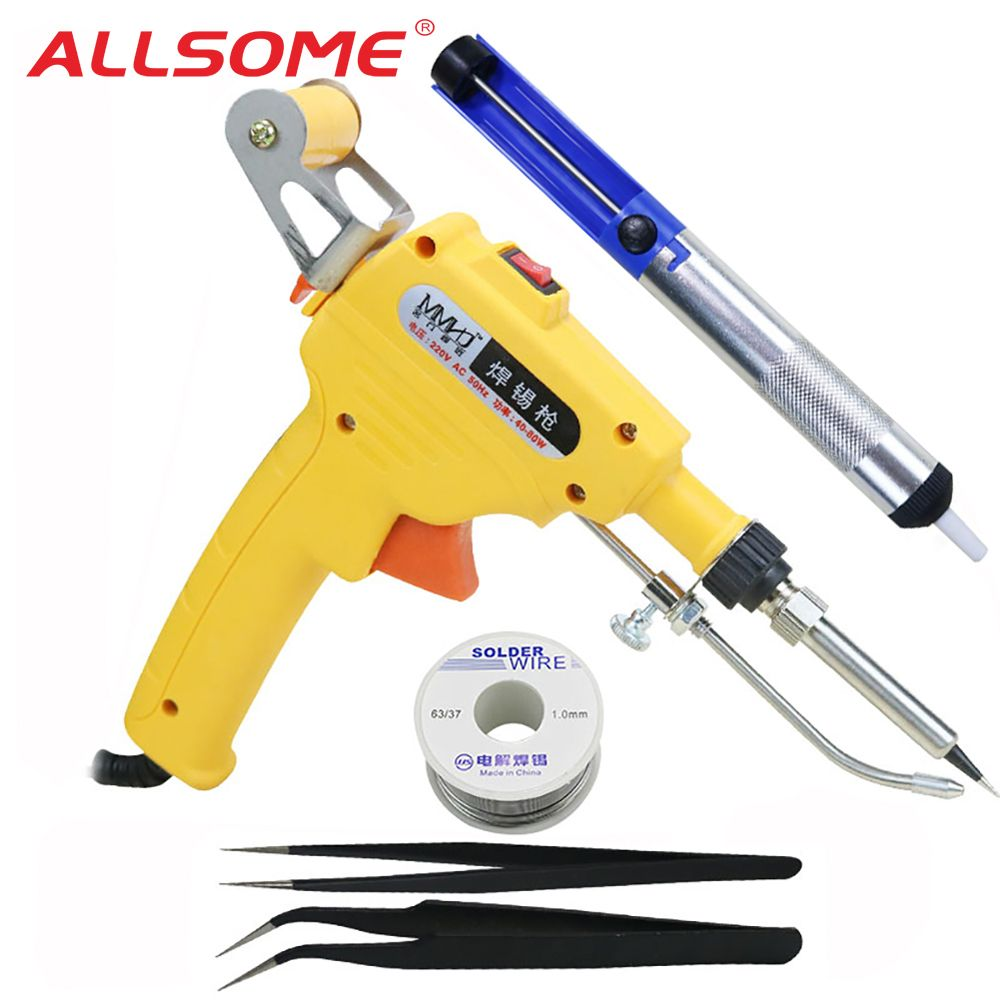 ALLSOME 60W Hand-held Internal Heating Solder Tin Gun Automatically Tool with Tweezers Solder Wire Suction Tin Device