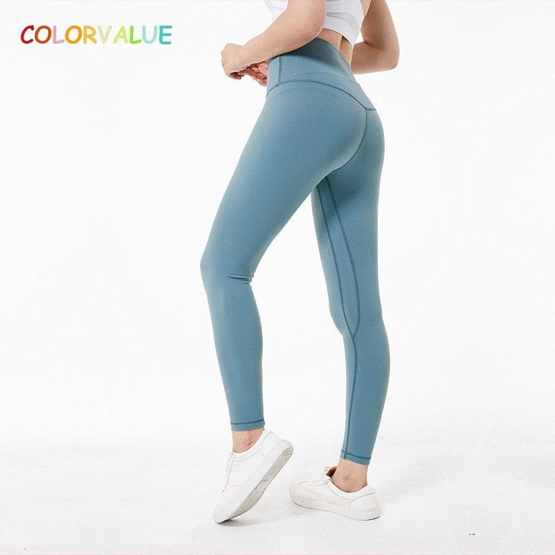 Colorvalue Super Soft Hip Up Yoga Fitness Pants Women 4-Way Stretchy Sport Tights Anti-sweat High Waist Gym Athletic Leggings