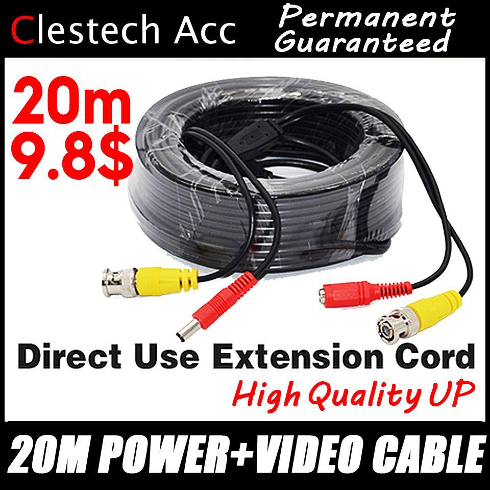 3.28 BigSale 20 m vidéo + câbles d'alimentation fils de caméra de sécurité pour système de Surveillance CCTV DVR avec Extension de connecteurs cc BNC