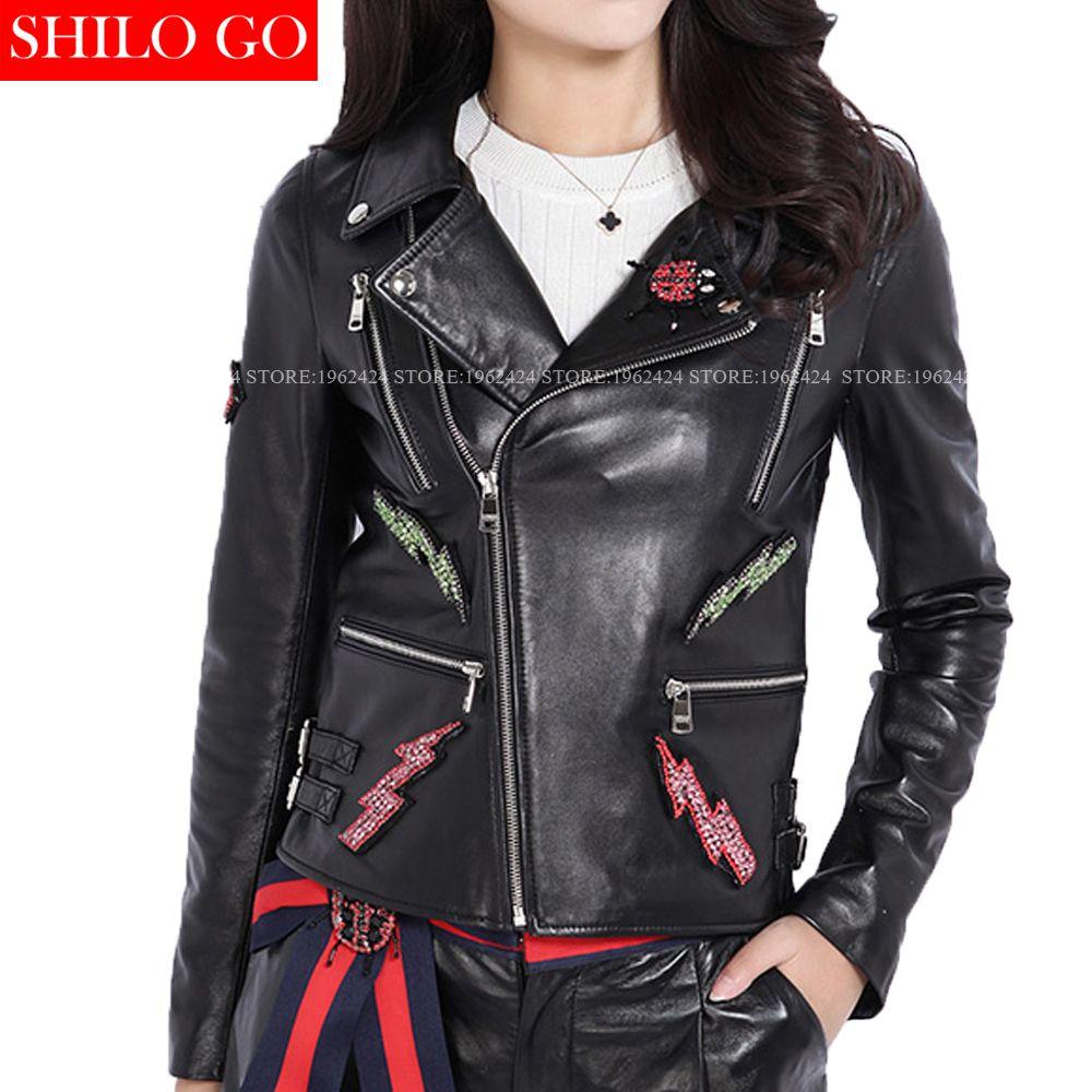 Fashion women high quality Sheepskin luxury lapel beading geometric cartoon snake embroidery locomotive genuine leather jacket