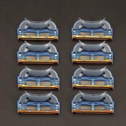 8 шт./упак.. Бритвы лезвия для мужчин 5 слои уход за лицом бритвы кассеты бритья совместимы с gillettee fusione