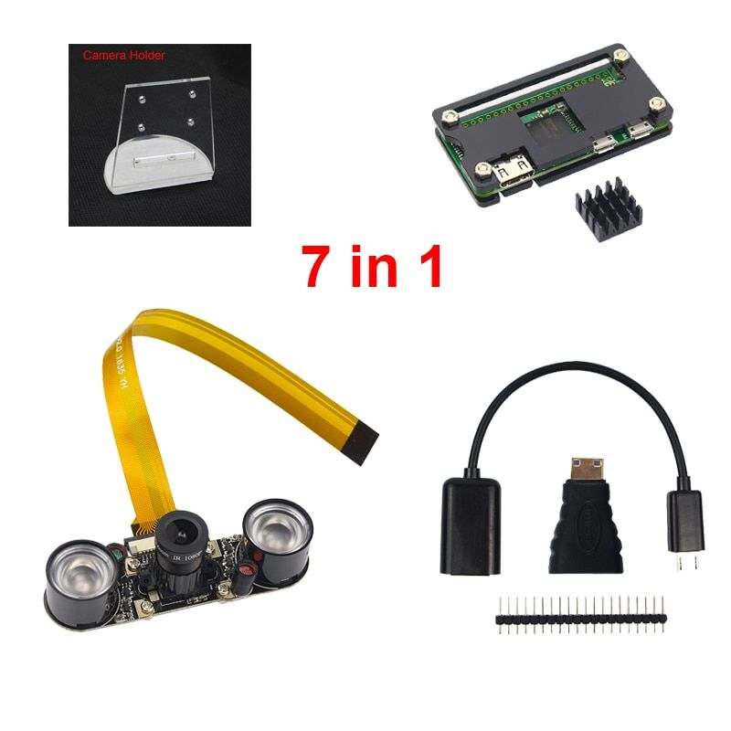 7 in 1 Raspberry Pi <font><b>Zero</b></font> W Camera + Holder + Acrylic Case + Heat Sink + Mini HDMI Adapter + GPIO Header + USB Cable RPI Camera