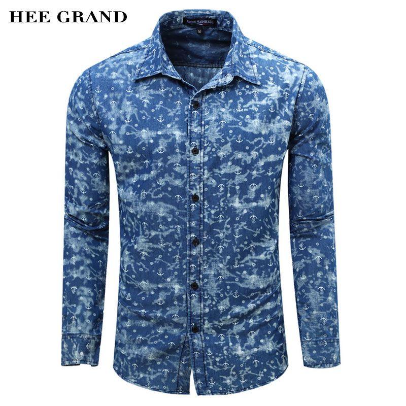 Hee Grand/Для мужчин; длинный рукав рубашка Новое поступление 2017 года Лидер продаж Повседневное Стиль рубашка с принтом отложной воротник Разме...