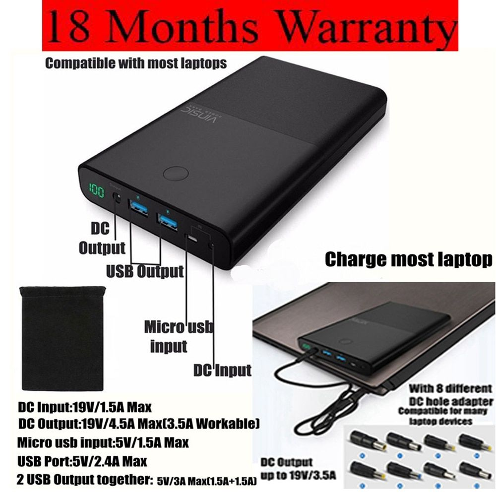 Vinsic 30000mah Power Bank 30000 mah Powerbank for Notebook Laptop for Xiaomi iPhone iPad Huawei 2 Ports 2.4A DC 19V 3.5A