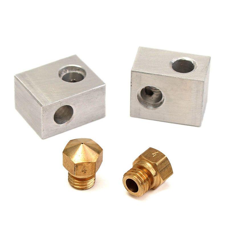 NEW 2pcs Aluminum MK10 Heating Block + 2pcs MK10 Brass Nozzle For Wanhao Dupicator D4/I3/Dremel 3D Printer Durable Quality