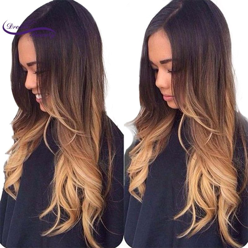 Dream Beauty Lace front Human Hair Wig Remy peruvian wavy Hair 130% Density Ombre Color 3T 1b/4/27 Human Hair Wig Baby Hair