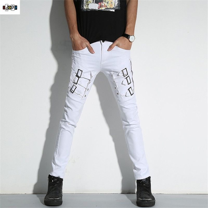 Idopy Men`s Punk Gothic Night Club Party Buckles Motorcycle Pants Jeans Biker Trousers For Hipster Stage Performance