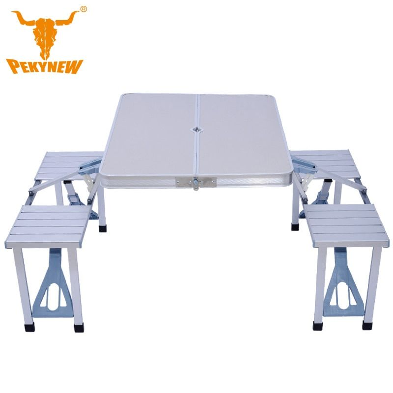 Thick piece aluminum folding tables and chairs Portable Folding Table Desk Furniture Outdoor 4-person table and chair