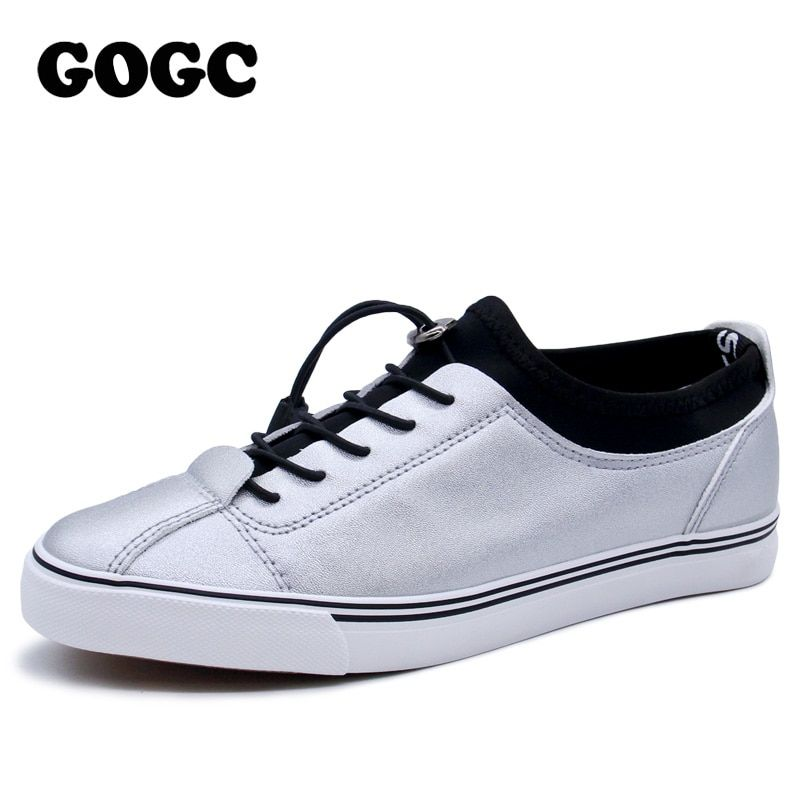GOGC 2018 Women Flat Shoes Sneakers Breathable Ladies Leather Shoes Autunm Creepers Casual Slip on Women Shoes Slipony Women New