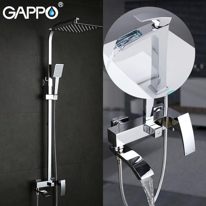 GAPPO Sanitär Ware Suite dusche set mit becken wasserhahn messing bad dusche set chrome bad wasserhahn mischer dusche system
