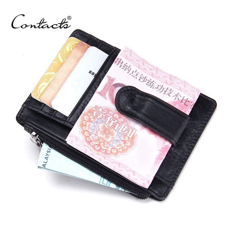 CONTACT'S 2018 New Brand Design High Quality Genuine Leather Money Clips Fashion Men Wallets with Coins Wallets