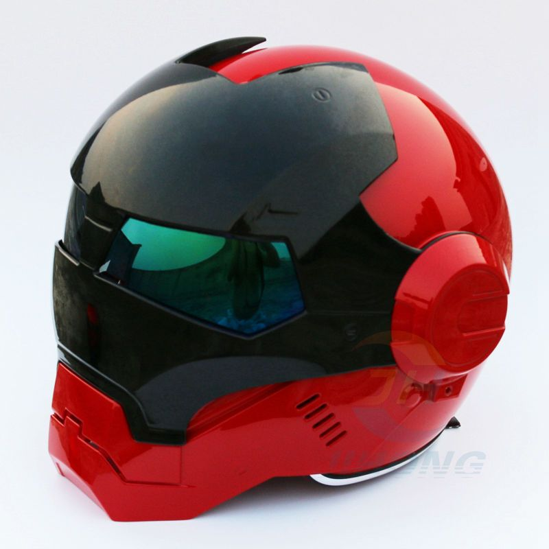 New Masei Bright Red & Black Mens womens IRONMAN Iron Man helmet motorcycle half helmet open face helmet ABS casque motocross