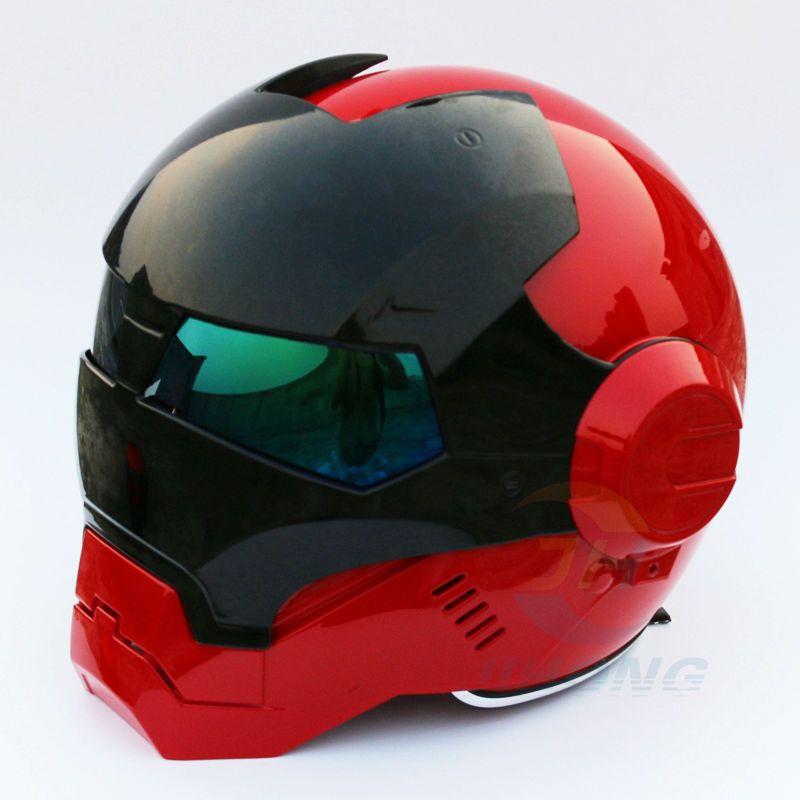 Nouveau Masei Lumineux Rouge et Noir des femmes des Hommes IRONMAN Fer homme casque de moto moitié casque open face casque ABS casque motocross