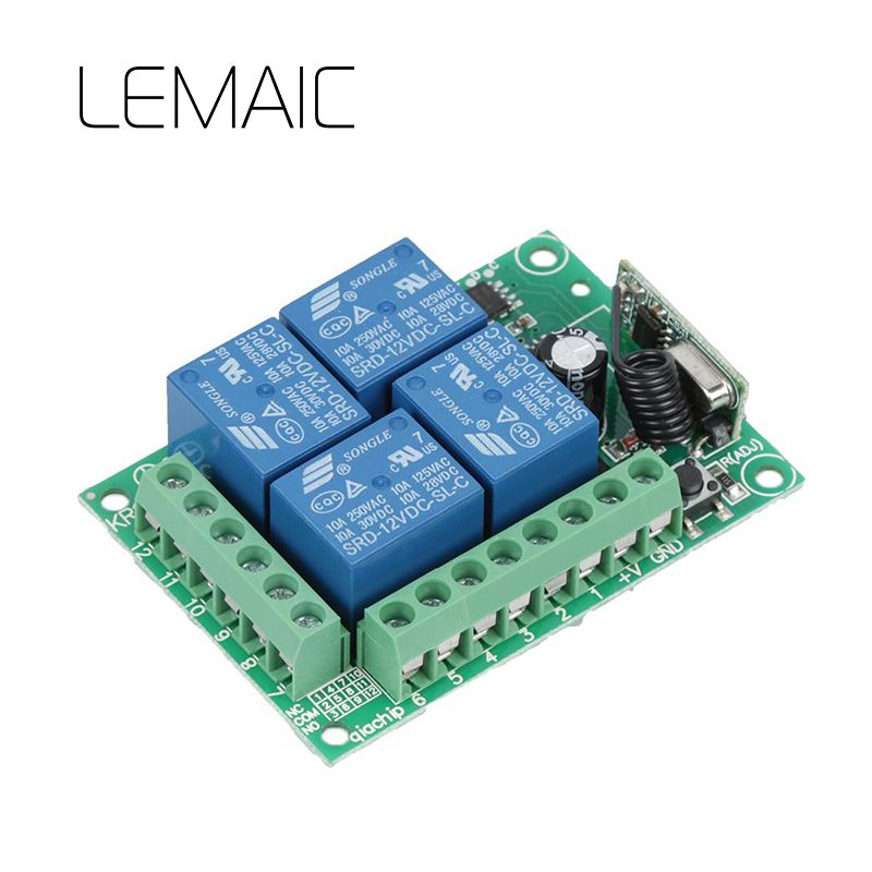 Universal 433Mhz DC 12V 4 Channel RF Wireless Remote Control Switch Relay Receiver Module learning Code Transmitter Diy S35