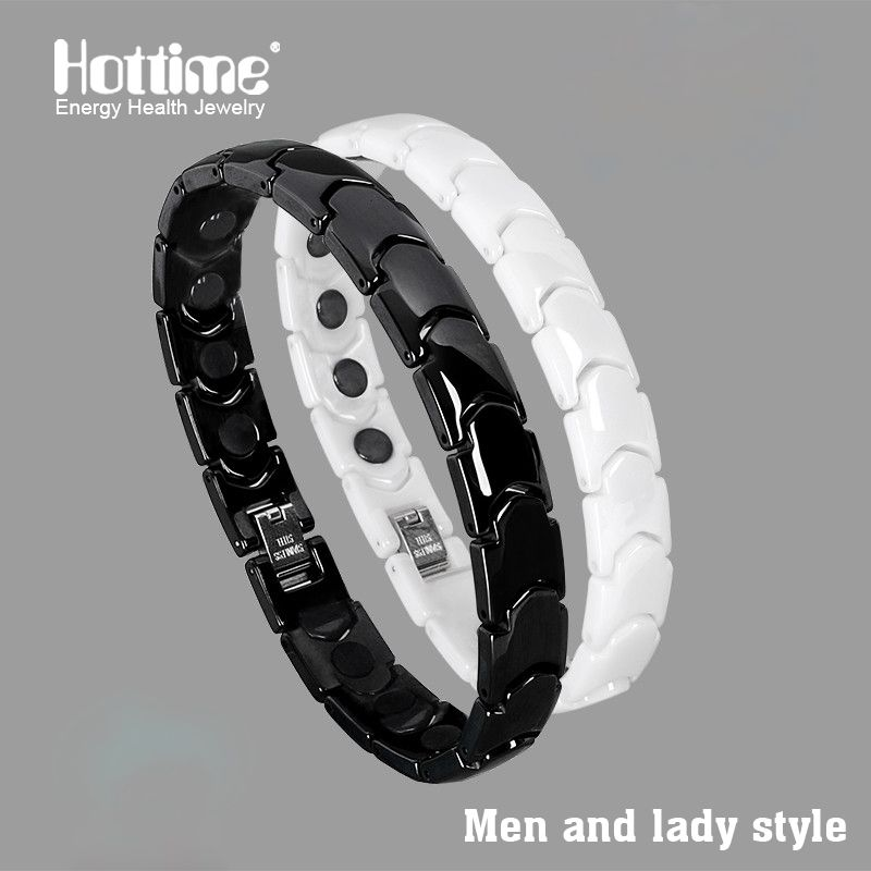 Hottime Noir Blanc Bio Elements Énergie En Céramique Bracelet Bracelet Amateurs Magnétique Germanium Santé Chaîne Charmes Femmes bijoux pour hommes