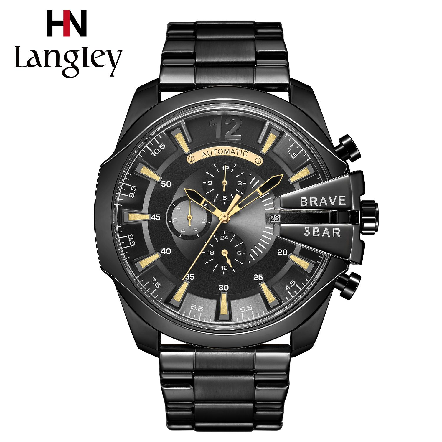 Men Watches Gold Self-winding Automatic Mechanical Wristwatch Army Military Male Only The Brave Clock Leather Band Saat Erkekler
