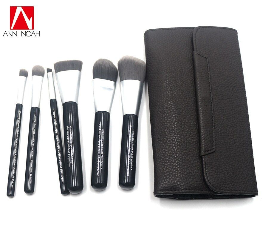 Professional Brand Quality Deluxe Charcoal Antibacterial Fiber 6pcs Makeup Brushes Set Cosmetic Tool Kit With Faux Leather Pouch