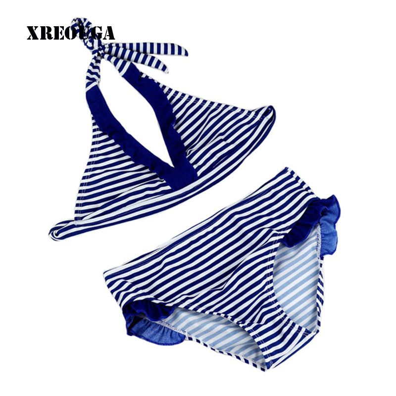 8-16Y Navy/Strand Baby Mädchen Bikini Badeanzüge Kind Bade Satz Streifen Halfter Gurt Falbala Bademode Kinder Biquini Infant GBSL01