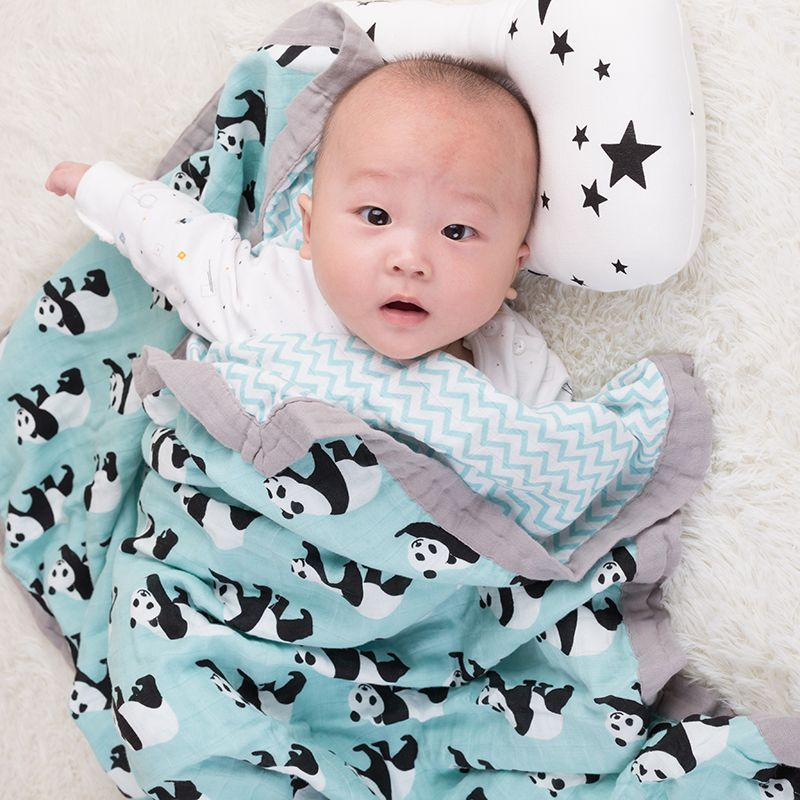 Baby Wrap Cotton blanket Multifunctional 2 layer Muslin Baby Newborns Blanket Baby Swaddle Blanket 120*120cm