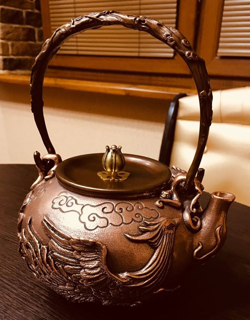 1.6L handmade copper teapot glass samovar ceramic enameled from clay enameled kettle metal dishes puer green tea gift Japanese