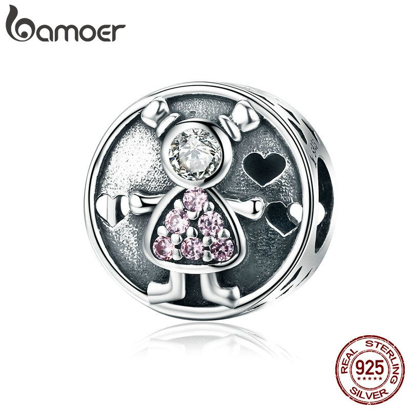 BAMOER Genuine 925 Sterling Silver Lovely Child Baby Sweet Family Charm Beads fit Charm Bracelet for Women DIY Jewelry SCC542