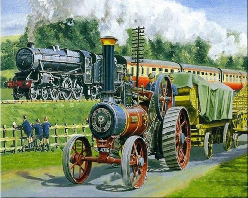 MHD 5D diamond embroidery Old fashioned locomotive emitting steam cross stitch diamond mosaic DIY fashion wall Decorative