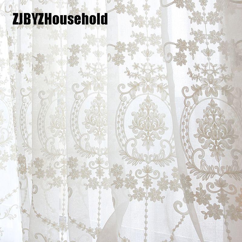 Écrans de fleurs de broderie blanche de haute qualité Style européen Voile Tulle transparent pour chambre salon fenêtres rideaux