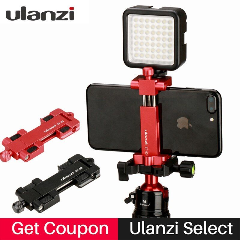 Ulanzi Multi-function Aluminium Tripod Mount Stand Adapter hot shoe mount tripod for iPhone 8 7plus Andriod Mobile Phone Holder