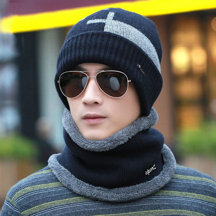 Men Hat Scarf Sets Two Pieces Set Wool Knitted Beanies Winter Warm Plush Wrap Muffler Scarves Snow Caps Earflaps Baggy