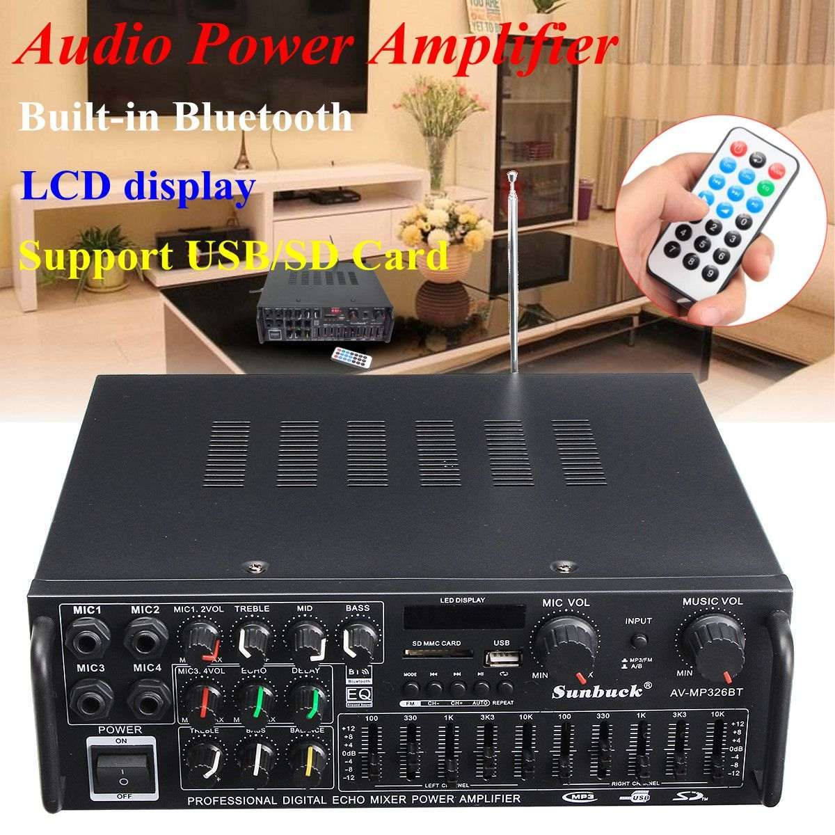 Bluetooth 2.0 Channel 2000W Audio Power HiFi Amplifier 326BT 12V/220V AV Amp Speaker with Remote Control for Car Home