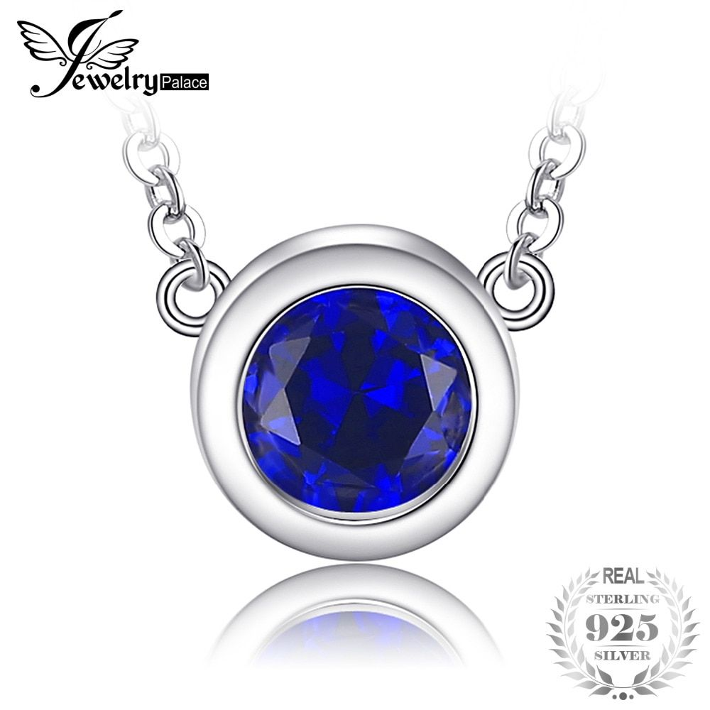 JewelryPalace Classic Round 1.82ct Created Sapphire 100% 925 Sterling Silver Chain Necklaces For Women Charms Brand Fine Jewelry