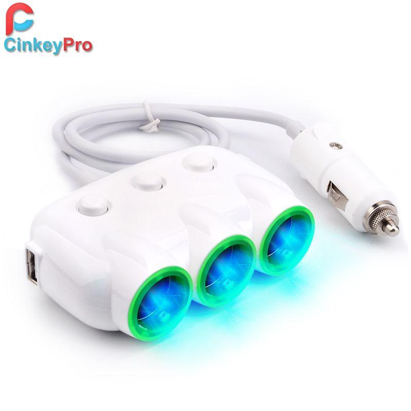 CinkeyPro Chargeur De Voiture 3-Socket Allume-cigare Adaptateur 2-Port USB Voiture-Chargeur 5 V 3.1A Mobile Téléphone De Charge Pour Samsung iPhone