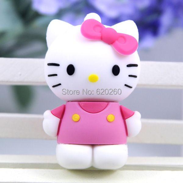 Free shipping! 4gb/8gb/16gb/32gb/64gb usb flash drive cartoon usb open drives cartoon cute kt cat hello kitty usb flash disk