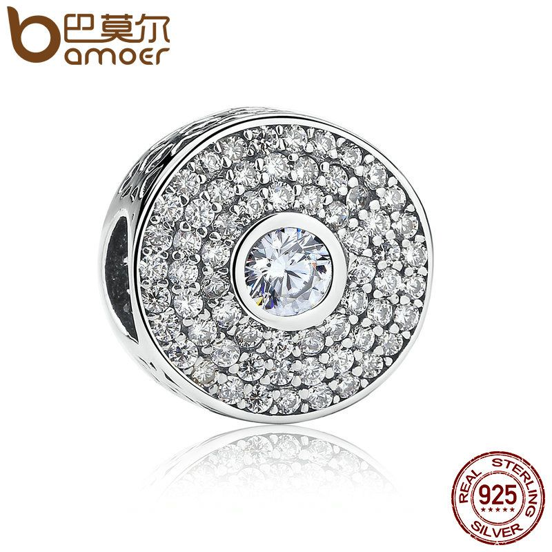 BAMOER 2 Color 100% 925 Sterling Silver Blue & White Crystals Round Bead Charms fit Bracelet Women Fashion Jewelry PSC029