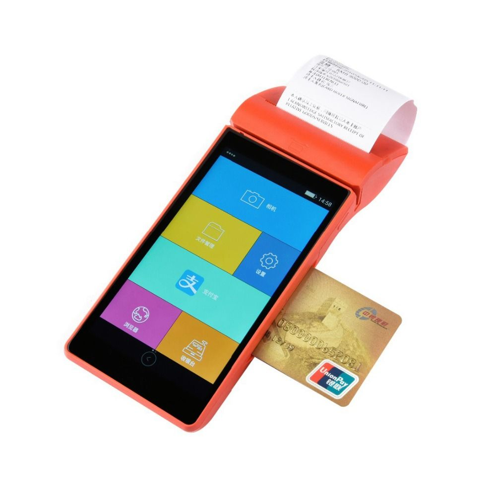 5.5 inch touch screen wireless mobile outdoor payment machine android 5.1 handheld POS terminal with card reader thermal printer