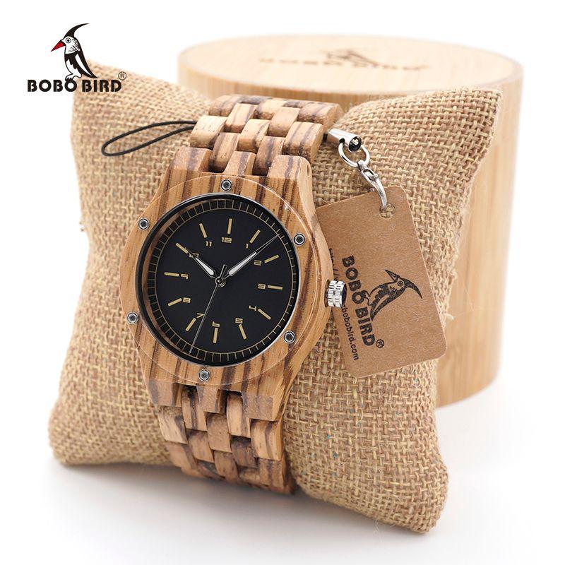 BOBO BIRD Zebra Wood Men's Date Time Week 24 Hours Wooden Watches Round Quartz Watch With Gift Wood Box custom logo