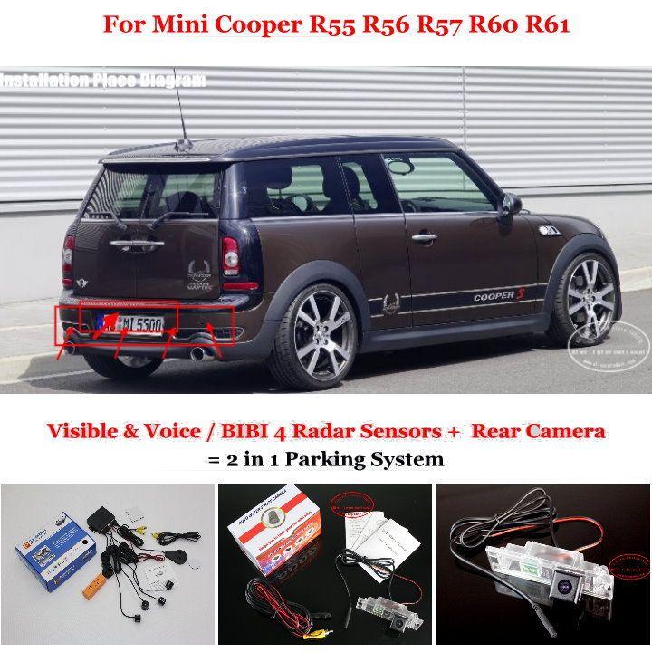 Liislee Parkplatz Sensoren + Ansicht-aushilfskamera = 2 in 1 Visueller Alarm Parkplatz System Für Mini Cooper R55 R57 R60 R61
