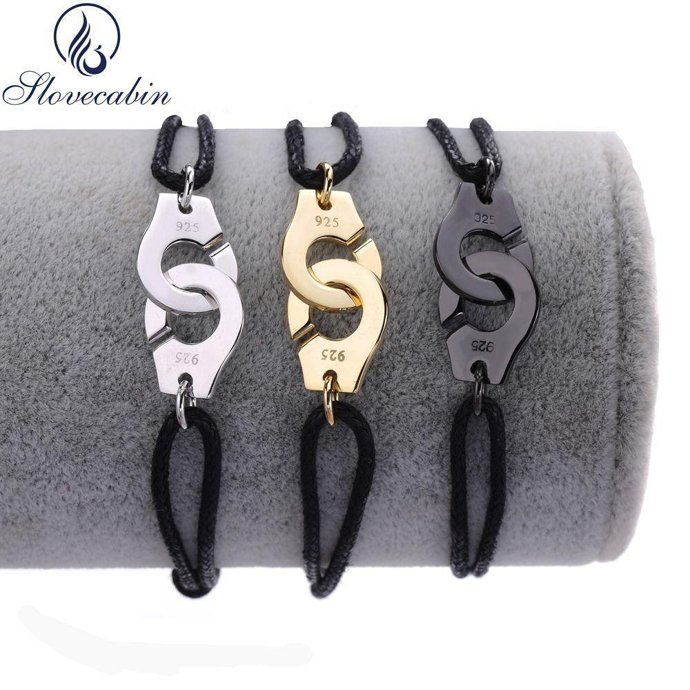 Slovecabin 2017 France authentique 925 argent Sterling noir corde Menottes Bracelet pour femmes Sterling-argent-bijoux