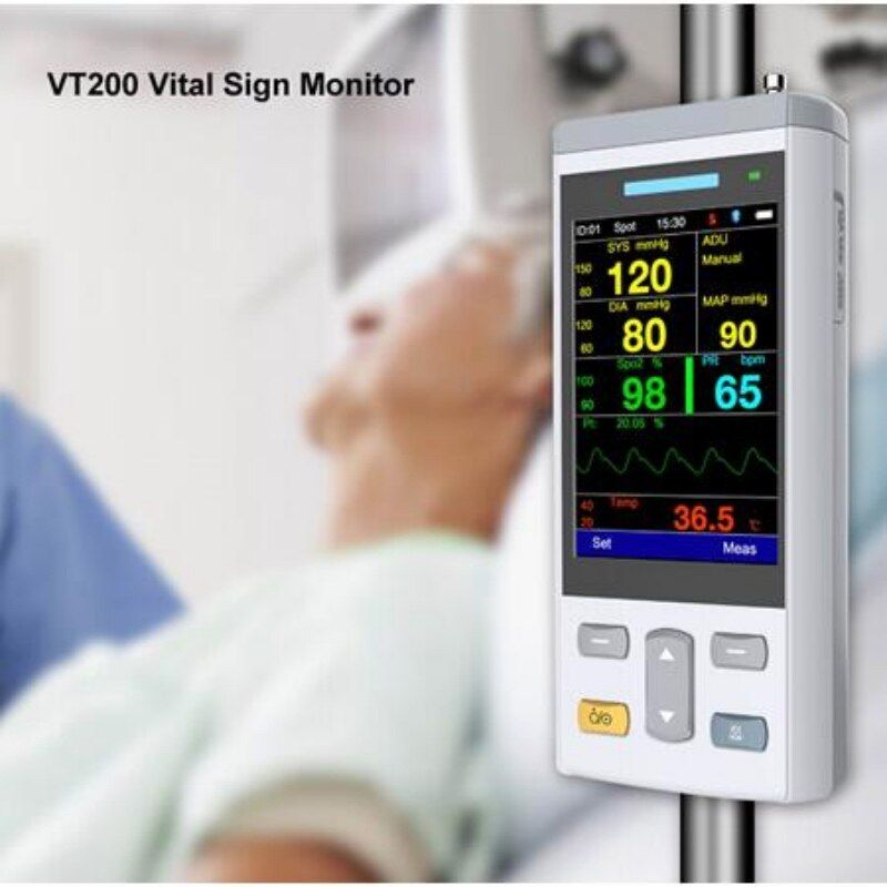 Le plus petit oxymètre de pouls de moniteur de signe Vital tenu dans la main de TFT de couleur de 3.5 pouces avec Spo2, NIBP, clinique de TEMP/moniteur médical d'utilisation de soins à domicile
