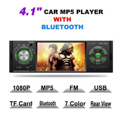 1 Din 4.1 Inch Layar Display Mobil MP5 Player FM Radio stasiun OLED Auto Audio Stereo Bluetooth USB AUX-IN dengan Remote Control