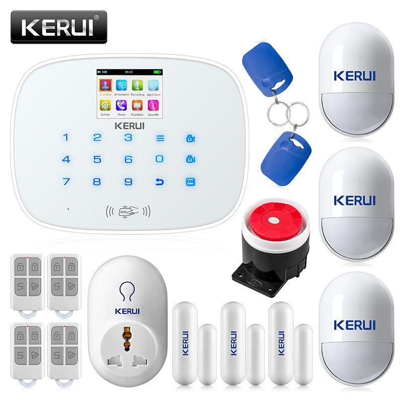 KERUI G19 RFID GSM sans fil intelligent système d'alarme de sécurité à la maison kit de bricolage avec cadran automatique prise intelligente détecteur de mouvement détecteur d'alarme