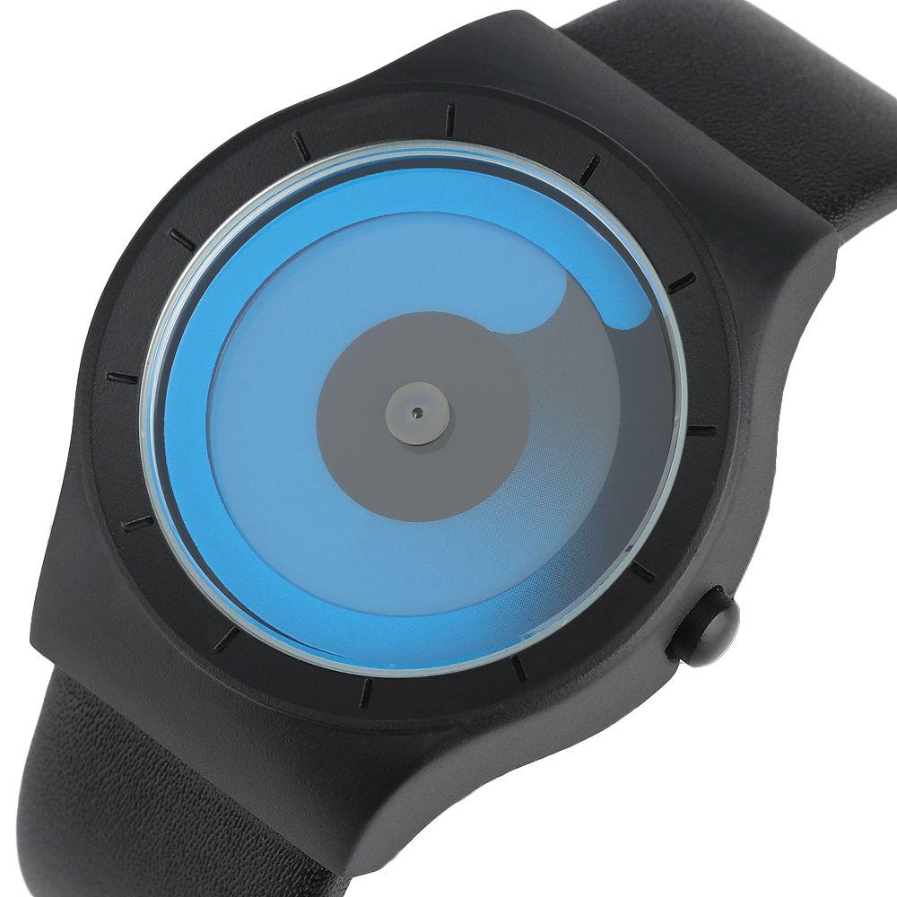 2017 Concepto Creativo de Moda de Los Hombres Relojes Friki Remolino Azul Puntero Del Reloj Del Cuarzo Relogio masculino Deportes Masculinos Horas Giradiscos