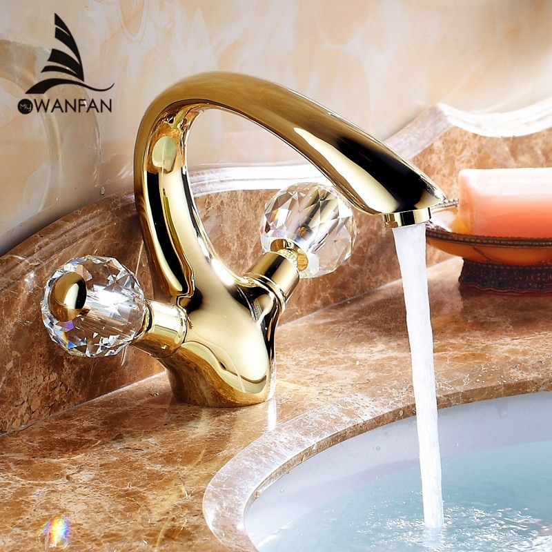 Basin Faucets Gold Brass Crystal Handle Bathroom Faucet Tap Toilet Mixer Water Tap Deck Mounted Basin Sink Crane Taps HJ-6651K